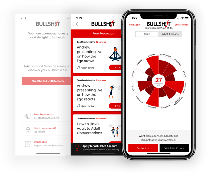 Bullshift Mobile Application screen